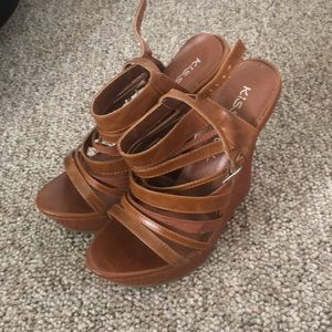 Tan Strappy Wedge